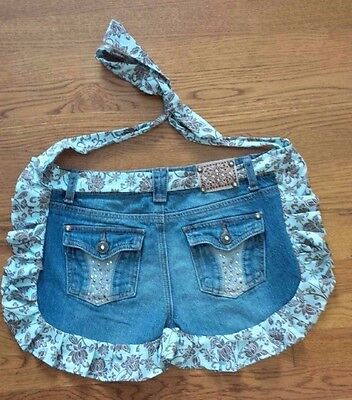 ARIZONA JEAN CO. Half Apron - Ruffled Denim Embellished Jeans