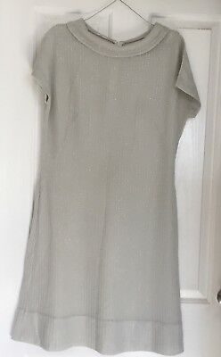 Size 14/16 VINTAGE GREY DRESS WITH SILVER EMBELLISHMENT RUNNING DOWN FABRIC