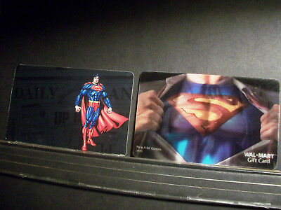 SUPERMAN By DC GIft Cards New & Unused No Cash Value 1 Lenticular & 1 Foil RARE