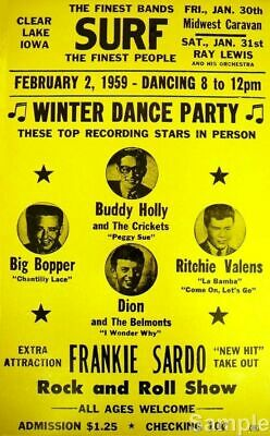 Vintage Buddy Holly Big Bopper Rock n Roll Winter 1959 Music Concert Poster
