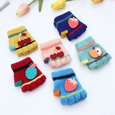 Toddler Baby's Cute Gloves Cartoon Fuit Decor Half Fingers Soft Knitted Mittens