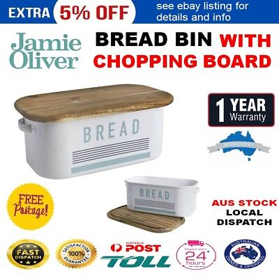 Jamie Oliver Bread Bin With Wooden Chopping Board Lid Loaf Crouton Storage Tin