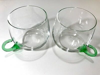 Vintage Crystal Punch Glasses with Green Handles and Clear Glass Cup Set of 2