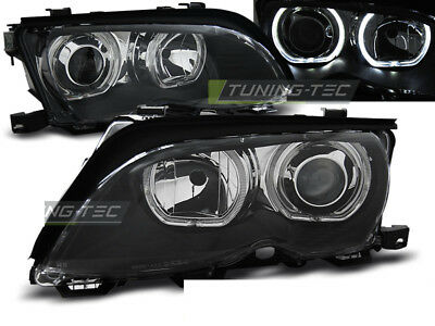 Coppia di Fari Anteriori per BMW E46 Serie 3 2001 - 2005 Angel Eyes LED Neri DEP