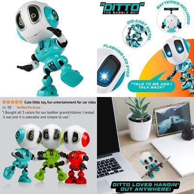 Talking Robots For Kids – Ditto Mini Robot Travel Toy With Posable Body, Smart