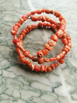 ANTIQUE NATURAL SALMON CORAL BEADS 12.9g
