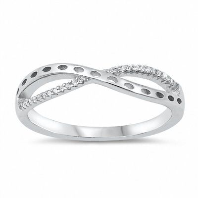 Genuine sterling silver ring solid 925 Infinity with cubic zirconia R001906