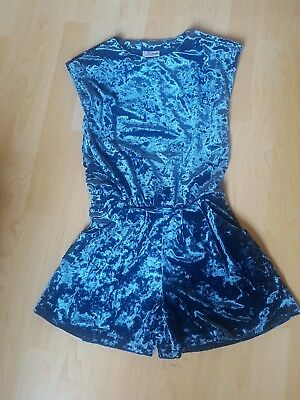 Next Girls Playsuit Crushed Velvet Age 9 Excellent Condition Teal Shorts