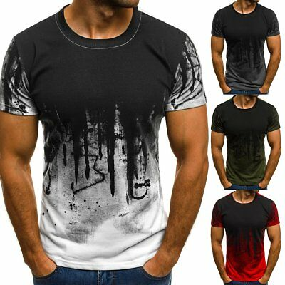 Mens Short Sleeve T Shirt Slim Fit Casual Blouse Tops Summer Clothing Muscle UK