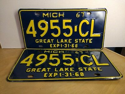 1967 Michigan Commercial Truck or Van License Plates - Set of 2 - 4955-CL