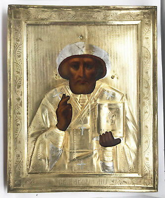 Antique Russian Silver and Gold plated Icon of St.Nicholas