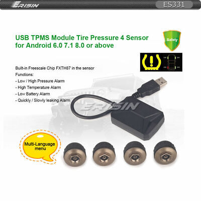 Erisin USB TPMS Module Tire Pressure 4 Sensors for Android 7.1 8.0 8.1 Stereo