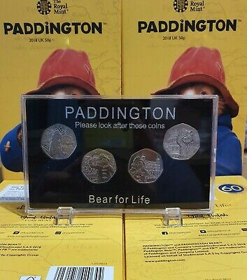 2018 & 2019 Paddington Bear 50p in Display Case 4 Coins CATHEDRAL TOWER STATION