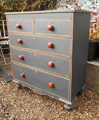 Original  Victorian  Pine  Painted  /  Distressed  Chest  Of  Drawers