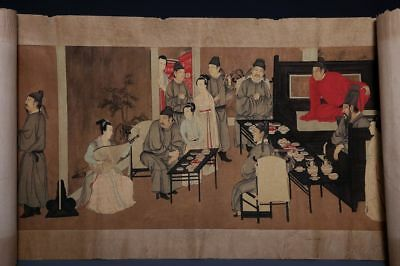 Superb Long Old Chinese Scroll Hand Painting Men and Women Marks 222GD