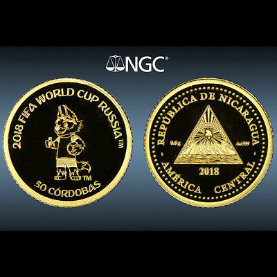 Nicaragua 50 Cordobas 2018 Gold FIFA World Cup Russia NGC PF 69 First Releases