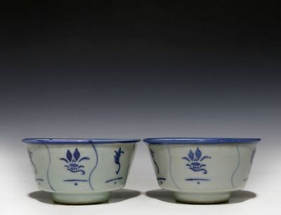 A Pair of Rare Old Chinese Blue and White Porcelain Bowls 071GD