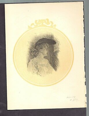 CHRISTY  woman beautty fancy portrait dress HAT ANTIQUE HISTORY BOOK