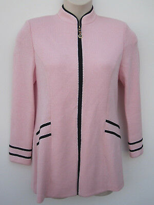 ST JOHN Collection KNIT Pink Jacket Suit Black Trims Sequined Sz 8