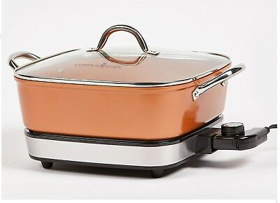 "Copper Chef 2-Piece 12"" Electric Skillet"
