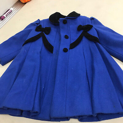 Rothschild Girls royal Blue  Faux Wool Coat Size 2T Dress coat