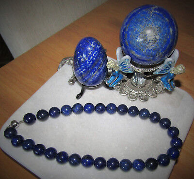 """Lapis Lazuli Round Beaded Necklace 640 Carat Sterling Silver Magnetic Clasp 18"""""""
