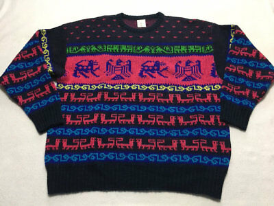 Lavaknit Vintage L Large Black Pink Blue Griffin Eagle Egyptian Wool Sweater