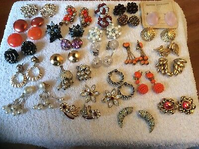 JOB LOT OF MAINLY VINTAGE Clip On EARRINGS -