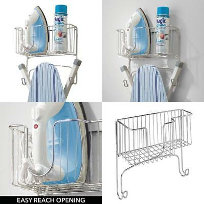 Hot Ironing Board Holder With Storage Basket For Clothing Iron Wall Mount Chrome