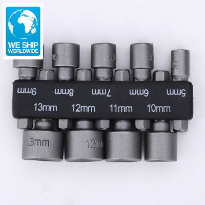 New 9pcs/set 6mm-13mm Hex Socket Sleeve Nozzles Magnetic Nut Driver Set Drill Bi