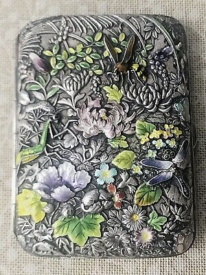 Stunning Repousse Sterling Chased enamel floral Chinese export cigarette case