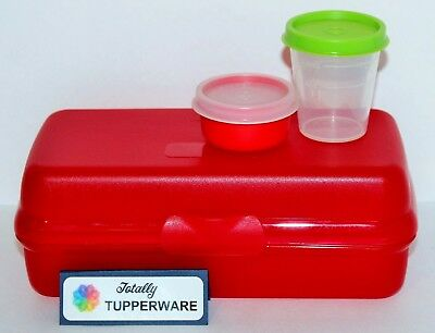 Tupperware Lunch Set Sandwich Sub Keeper, Midget & Smidget 3 Pieces Red & Green