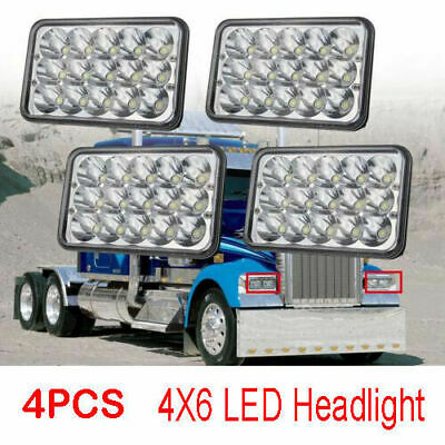 4pcs 4x6 LED Headlights for Kenworth T400 T600 T800 W900L W900B Classic 120/132