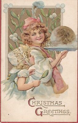 Girls carry a Christmas  pudding  Lovely old embossed PC TUCK