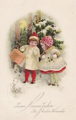 Two little girls in red & white in snow  B&R publication