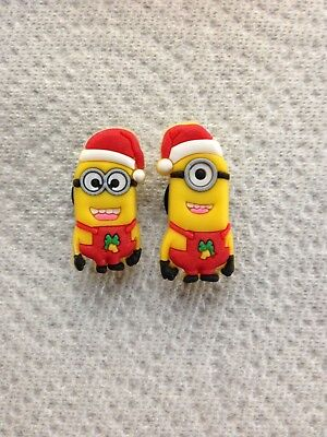 Christmas Shoe Charm Fit Crocs Minion Shoe Charms Minions Dressed As Santa Charm