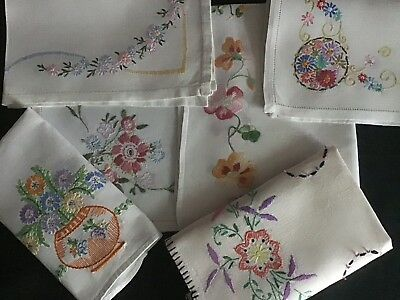 Collection 6 Vintage Linen Hand Embroidered Tray Cloths ~ Beautiful Florals
