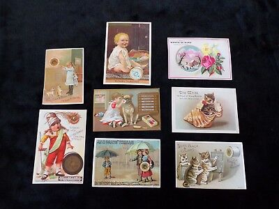 8 Antique Victorian Advertising Trade Cards Thread Sewing Machines JP COATS ETC.