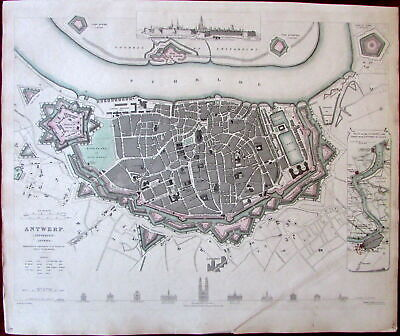 Antwerp Belgium City Plan View Inset Buildings c.1832 SDUK old Davies map