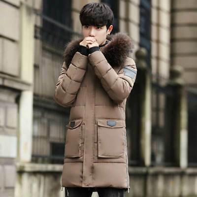 Winter Men's Long Down Padded Coat Fur Collar Parka Outwear Hooded Jacket Tops