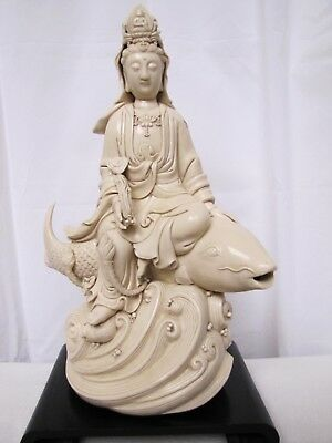 Antique 19th Century Chinese Porcelain Guanyin Riding Fish Statue. w/ Mark