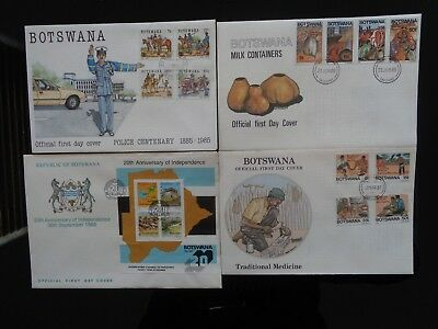BOTSWANA 4 x DIFFERENT COMMEMORATIVE & M/S FIRST DAY COVERS 1985-1987