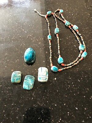 Lot  Of 5 ANCIENT EGYPTIAN ANTIQUE USHABTI CERAMIC  And Turquoise & Coral Rare
