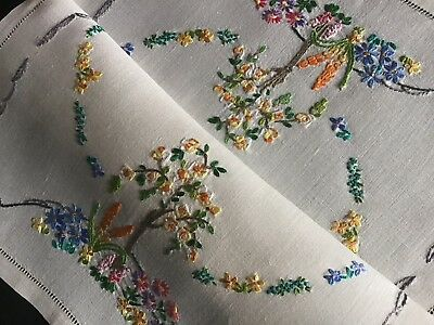 Lovely Vintage Linen Hand Embroidered Tray Cloth ~ Floral Garden
