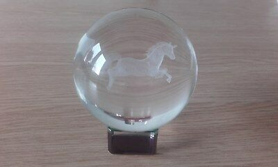 3D Laser Engraved Optical Prancing Horse Crystal Ball On Stand 80mm