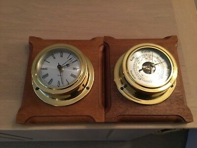 A  Vintage  Ships Brass Bulkhead Style Wall Clock & Barometer (Working )