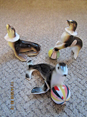 Vintage mini porcelain bone china circus seals figurines original labeled 2.5""