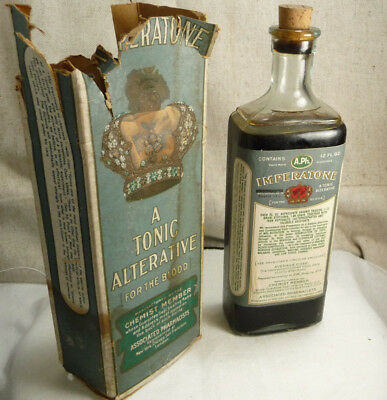 Antique Medical Bottle Imperatone For the Blood w/Lable Contents Original Box
