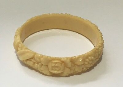 Vintage Art Deco Cream Carved Plastic Floral Bangle Stamped 'foreign'