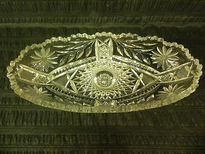 Antique American Brilliant Period Cut Glass Oval Crystal Tray Dish Bowl 11""
